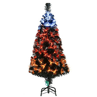 4 ft. Black Fiber Optic Tree with Candy Corn Color Lights (8 Functions), , large