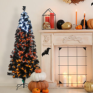 6 ft. Black Fiber Optic Tree with Candy Corn Color Lights (8 Functions), , rollover