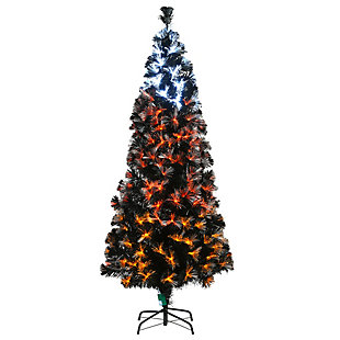 6 ft. Black Fiber Optic Tree with Candy Corn Color Lights (8 Functions), , large