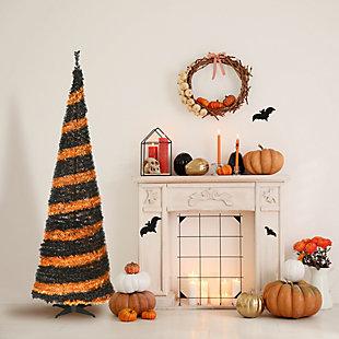 7.5 ft. Halloween Orange and Black Pop-Up Tinsel Tree, , rollover