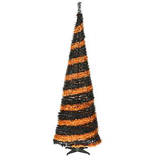 7.5 ft. Halloween Orange and Black Pop-Up Tinsel Tree, , large