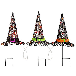 """23"""" Pre-Lit Black Witch's Hat Garden Stakes with Battery Operation, , large"""