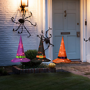 """23"""" Pre-Lit Multicolor Witch's Hat Garden Stakes with Battery Operation, , rollover"""
