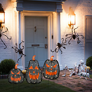 National Tree Company Pre-Lit Black Jack-O-Lantern Garden Stakes with LED Lights, , rollover
