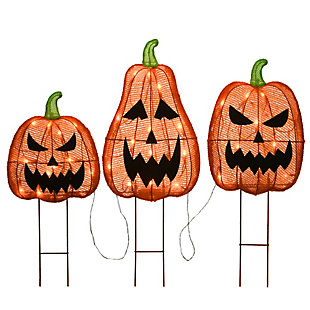 """26"""" Pre-Lit Jack-O-Lantern Garden Stakes with LED Lights, , rollover"""