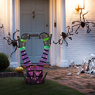 """32"""" Pre-Lit Purple Witch's Legs Decoration with Battery Operated LED Lights, , rollover"""