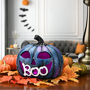 """8"""" LED Lit """"BOO"""" Purple Galaxy Pumpkin, Battery Operated, , rollover"""