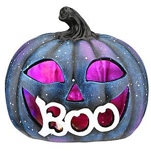 "8"" LED Lit ""BOO"" Purple Galaxy Pumpkin, Battery Operated, , large"