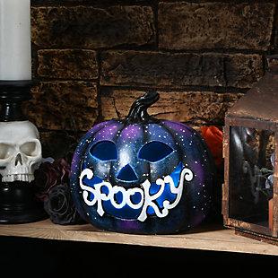 "10"" LED Lit ""Spooky"" Purple Galaxy Pumpkin, Battery Operated, , rollover"