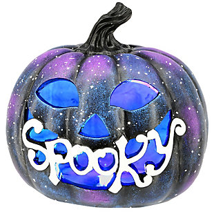"10"" LED Lit ""Spooky"" Purple Galaxy Pumpkin, Battery Operated, , large"