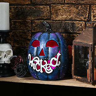 """12"""" LED Lit """"Wicked"""" Purple Galaxy Pumpkin, Battery Operated, , rollover"""