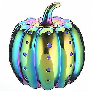 "12"" LED Lit Iridescent Pumpkin Decor, Battery Operated, , large"