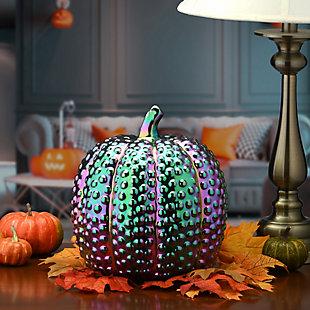 """10"""" Iridescent Pumpkin Decor, , rollover"""
