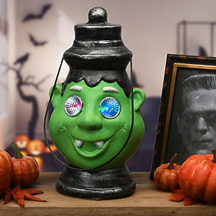 """12"""" Green Ghoul Lantern with LED Lights, Battery Operated, , rollover"""