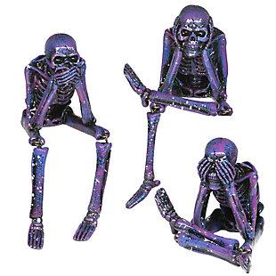 Purple Galaxy Skeleton Statues (Set of 3), , large