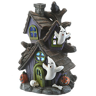 """6"""" Purple Haunted House with LED Light, Battery Operated, , large"""