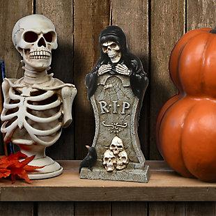 "12"" Poiyresin Tombstone and Skeleton Reaper, , rollover"