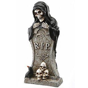 """12"""" Poiyresin Tombstone and Skeleton Reaper, , large"""