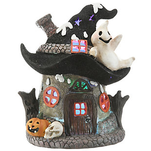 """7"""" Black Hat Haunted House with LED Light, Battery Operated, , large"""