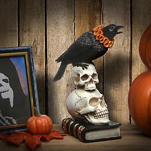 "11"" Polyresin Crow and Skulls Halloween Decor, , rollover"