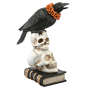 "11"" Polyresin Crow and Skulls Halloween Decor, , large"