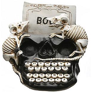 "8"" Polyresin Skull Typewriter with Rats, , large"