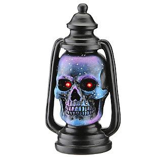 "10"" LED Lit Purple Galaxy Skull Lantern, Battery Operated, , large"