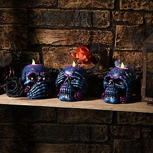 Purple Galaxy Skull Candleholder Assortment (Set of 3), , rollover