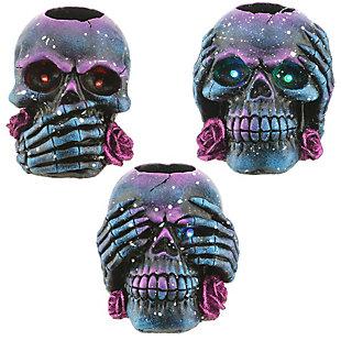 Purple Galaxy Skull Candleholder Assortment (Set of 3), , large