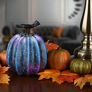 """7"""" Purple Galaxy Decorative Tabletop Pumpkin, , rollover"""