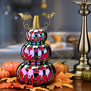 """13"""" LED Lit Iridescent Stacked Pumpkins Decor, Battery Operated, , rollover"""