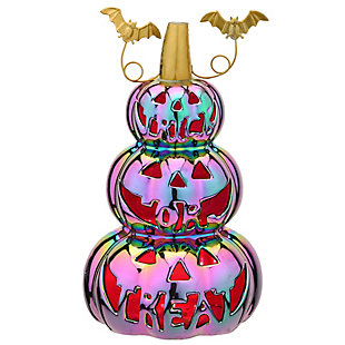 """13"""" LED Lit Iridescent Stacked Pumpkins Decor, Battery Operated, , large"""