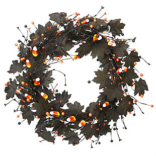 """22"""" Halloween Black Maple Leaf Wreath with Candy Corn, , large"""
