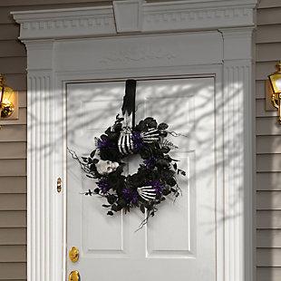 "18"" Scary Skeleton Hand Wreath Hanger, , rollover"