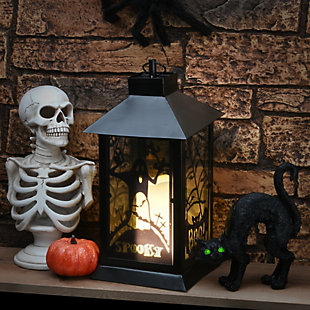 """16"""" Black Halloween Ghost Lantern with Battery Operation, , rollover"""