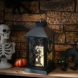National Tree Company Black Halloween Haunted House Lantern with Battery Operation, , rollover