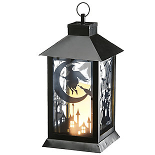 National Tree Company Black Halloween Haunted House Lantern with Battery Operation, , large