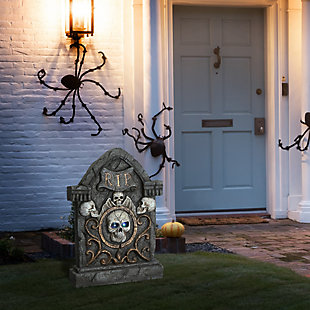 """23"""" Scary Skull Gravestone with LED Lights, Battery Operated, , rollover"""