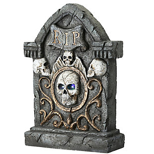 """23"""" Scary Skull Gravestone with LED Lights, Battery Operated, , large"""