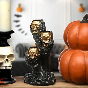 """12"""" Polyresin Triple Skull Candleholder, , rollover"""