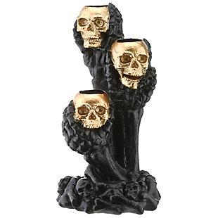 """12"""" Polyresin Triple Skull Candleholder, , large"""