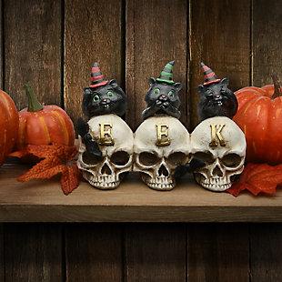 """5"""" Polyresin EEK Skulls with Black Cats, , rollover"""