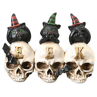 """5"""" Polyresin EEK Skulls with Black Cats, , large"""