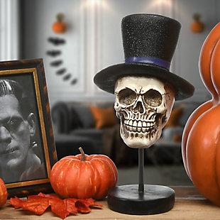 "12"" Polyresin Halloween Skull in Top Hat, , rollover"