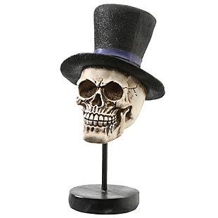 "12"" Polyresin Halloween Skull in Top Hat, , large"