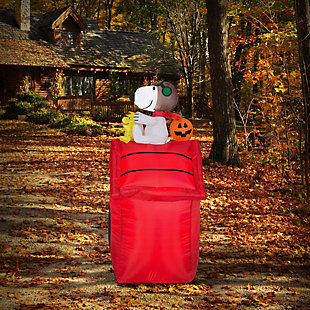 Inflatable 3.5 ft Snoopy Sitting on Top of Red Dog House, , rollover