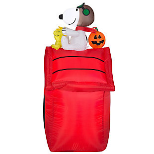 Inflatable 3.5 ft Snoopy Sitting on Top of Red Dog House, , large