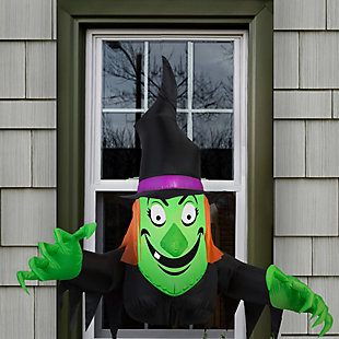 Inflatable 3.5 ft. Window Creeper Friendly Witch, , rollover