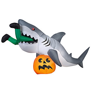 Inflatable 4 ft. Shark and Pumpkin, , large
