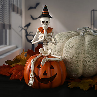 """12"""" Skeleton Sitting on Pumpkin with Battery Operated LED Light, , rollover"""
